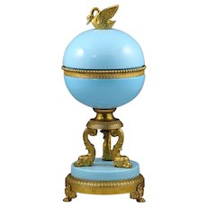30cm H Large French blue opaline glass and bronze dore Box