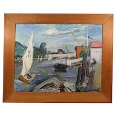 Vintage to antique American oil board painting signed LU, 2