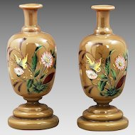 Antique caramel opaline glass Vases or bottle w/ enamel butterflies and flowers