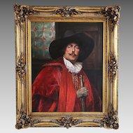 Oil canvas painting signd French artist ALEX DE ANDREIS portrait of CAVALIER