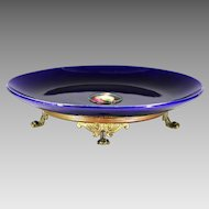 Antique France LB Paris Palais Royal cobalt porcelain Platter miniature painting