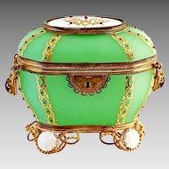 Antique French Palais Royale green Opaline glass casket, jewelled box set into bronze dore mounts