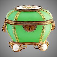 Antique French Palais Royale jeweled green Opaline glass casket