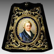 Antique miniature portrait Johann Goethe painting on porcelain in bronze frame