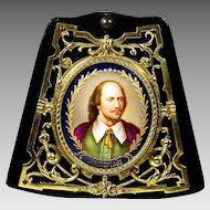 Antique miniature portrait Shakespeare painting on porcelain in bronze frame