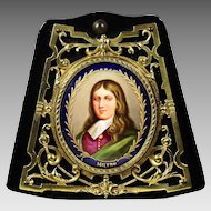 Antique miniature portrait of John Milton painting on porcelain in bronze frame