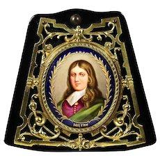 Antique miniature portrait of John Milton painting on porcelain in bronze frame