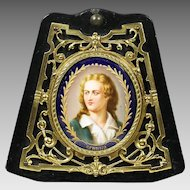 Antique miniature portrait Friedrich Schiller painting porcelain in bronze frame