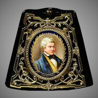 Antique miniature portrait Walter Scott painting porcelain in bronze frame
