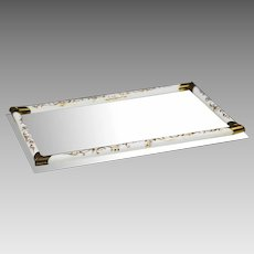 """12"""" x 18"""" Vintage vanity mirror Tray or Dresser plateau with opaline glass rods"""