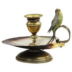 Antique French brass shell candle holder with cold painted bronze Parakeet