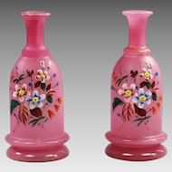 Antique pink overlay white opaline glass Vases or bottle w/ enamel flowers