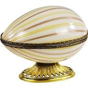 XL  Murano copper aventurine art glass trinket jewelry hinged egg Box