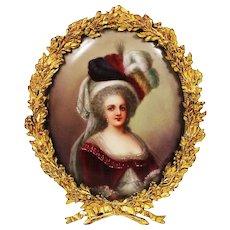 Marie Antoinette miniature painting on porcelain signed framed in gilt bronze frame