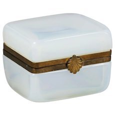 French Bulle de Savon white opaline glass hinged Box gilt bronze mounts