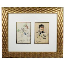 Pair of vintage watercolour whimsy Jewish Picture of Lazar Weisman, 1937Kolomyja