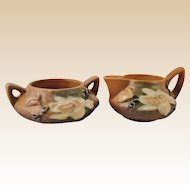 Roseville Pottery Magnolia Brown Creamer & Sugar Bowl Nos. 4-C and 4-S