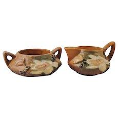 Roseville Pottery Magnolia Brown Creamer & Sugar Bowl Nos. 4-C and 4-S