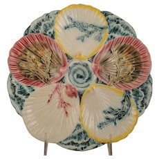 Vintage Wedgwood Majolica Seaweed Oyster Plate