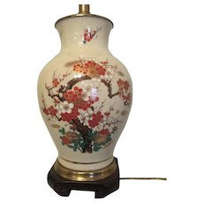 FREDERICK COOPER Satsuma Large Porcelain Table Lamp MID CENTURY  Hand Painted Oriental