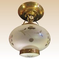 Mid-Century Brass and Cut Glass Semi-flush Ceiling Fixture