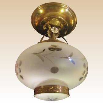 Mid-Century Brass and Cut Glass Semi-flush Ceiling Fixture