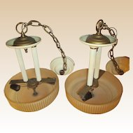 Vintage Deco Hanging Fixtures Pair-20's/30's