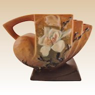 Roseville Pottery Magnolia Brown Cornucopia No. 182-5