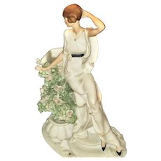 Hand Painted Sculpture Of Deco Era Lady