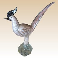 Sculpture-Murano Exotic Bird-Mid Century Hand Blown Art glass