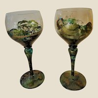 Crystal-Wine Glasses-Antique-Romania-Hand Painted/Fired-Pair