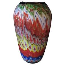 Huge Vase-Murano-Art Glass-Millefiori