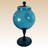 Large-Murano- Art Glass-Covered Jar Mid Century