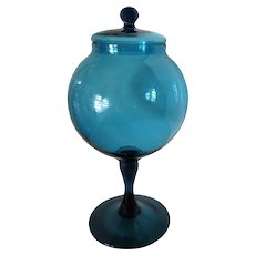 Large-Murano- Art Glass-Covered Jar Mid Century
