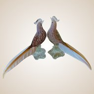 BirdSculptures- Pair-Exotic Pheasants-Murano-Barbini