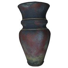 Large-Vase-Raku Pottery-Artist Signed-Late Mid Century