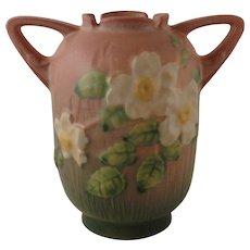 Roseville Pottery White Rose Pink Vase No. 979-6