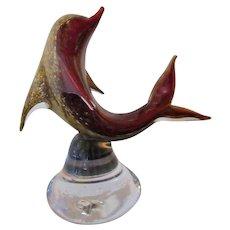 RARE Sculpture-Murano-Art Glass- Dolphin-Artist Signed-Exhibition Piece