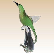 Tall 14 in.- Sculpture-Murano- Tropical Bird-Art Glass- Mid Century Modern