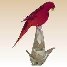 Parrot Sculpture-Murano-Art Glass-Mid Century Modern