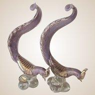 Huge Barbini Sculptures, Pair-Murano-Exotic Pheasants -Mid Century