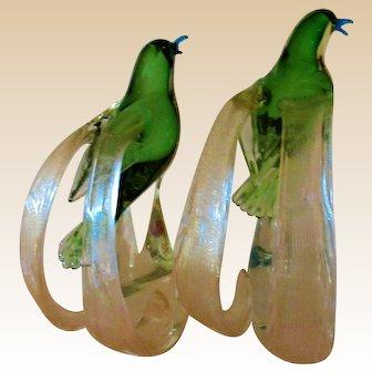 PAIR Birds Of Paradise-Sculptures-Murano Art Glass-Mid Century Modern