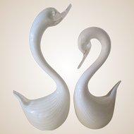 Huge Swan Sculptures-Seguso-Murano-Mid Century Modern