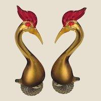 Sculptures-Murano- Exotic Birds-Mid Century Modern