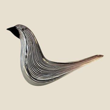 Sculpture-MuranoArt Glass Bird- Mezza Filagrana-Dino Martens MCM