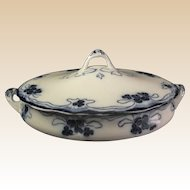 Flow Blue Covered Vegetable Bowl SUPER DECO PATTERN