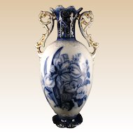 Large Flow Blue Vase- ENGLAND -Late 1890's-Early 1900's