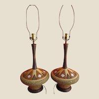 Table Lamps- Pair- Danish Modern- Volcanic Glaze-Italy