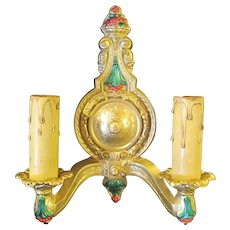 Electric Double Candle Wall Sconces Pair