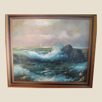 Vintage Seascape Oil Painting On Canvas EXCEPTIONAL Color and Detail